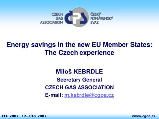 Energy savings in the new EU Member States:  The Czech experience