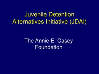 Juvenile Detention Alternatives Initiative (JDAI)