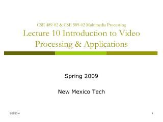 Spring 2009 New Mexico Tech