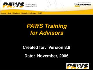 PAWS Training for Advisors