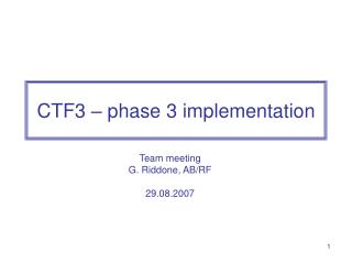 CTF3 – phase 3 implementation