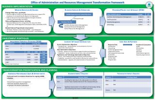 Office of Administration and Resources Management Transformation Framework
