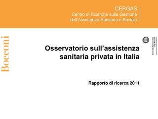 Osservatorio sull'assistenza sanitaria privata in Italia