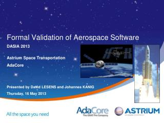 Formal Validation of Aerospace Software