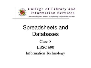 Spreadsheets and Databases