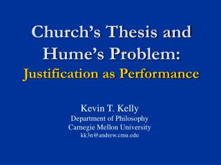 Church's Thesis and Hume's Problem: Justification as Performance