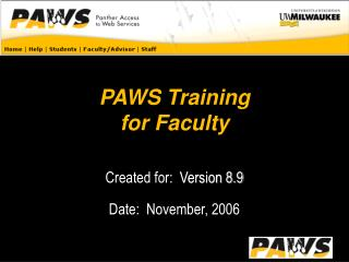 PAWS Training for Faculty