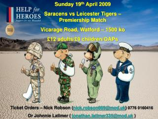 Sunday 19 th  April 2009 Saracens vs Leicester Tigers – Premiership Match