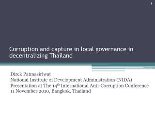 Corruption and capture in local governance in decentralizing Thailand