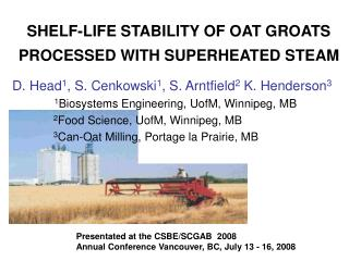 SHELF-LIFE STABILITY OF OAT GROATS PROCESSED WITH SUPERHEATED STEAM