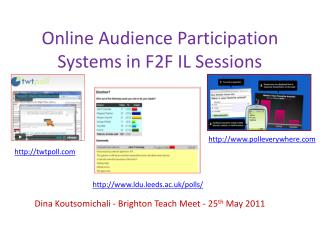 Online Audience Participation Systems in F2F IL Sessions