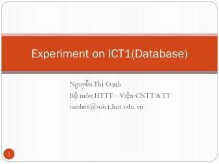 Experiment  on ICT1( Database )