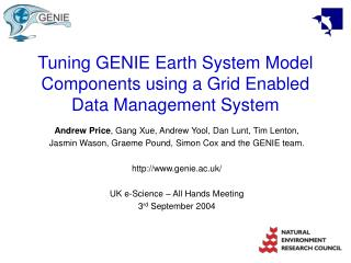Tuning GENIE Earth System Model Components using a Grid Enabled Data Management System