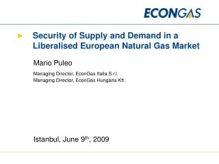 Security of Supply and Demand in a Liberalised European Natural Gas Market