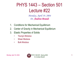 PHYS 1443 – Section 501 Lecture #22