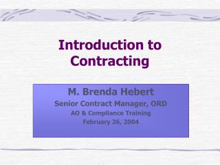 Introduction to Contracting