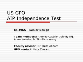 US GPO AIP Independence Test