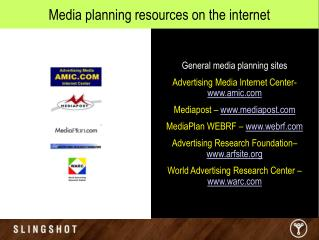 Media planning resources on the internet