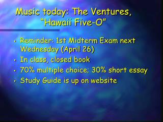 """Music today: The Ventures, """"Hawaii Five-O"""""""