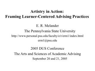Artistry in Action:   Framing Learner-Centered Advising Practices