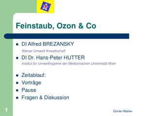 Feinstaub, Ozon & Co