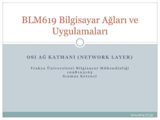 BLM619 Bilgisayar Ağları ve Uygulamaları