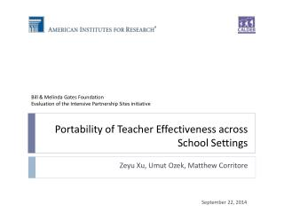 Portability of Teacher Effectiveness across School Settings