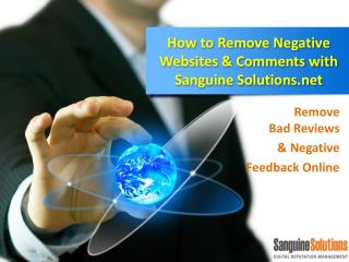 How to Remove Negative Websites  Comments with Sanguine Solu