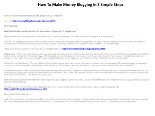 How To Make Money Blogging In 3 Simple Steps