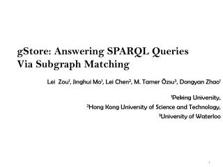 gStore: Answering SPARQL Queries Via Subgraph Matching