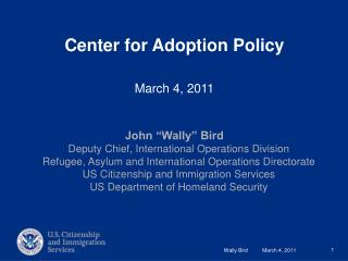 Center for Adoption Policy March 4, 2011