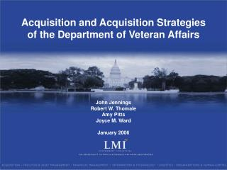 Acquisition and Acquisition Strategies  of the Department of Veteran Affairs