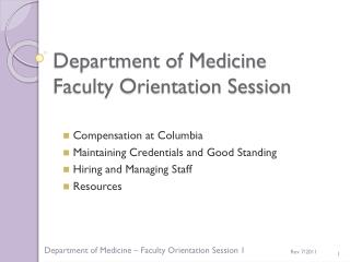 Department of Medicine Faculty Orientation Session