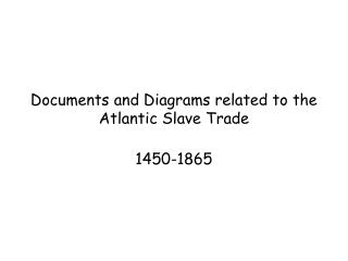Documents and Diagrams related to the Atlantic Slave Trade