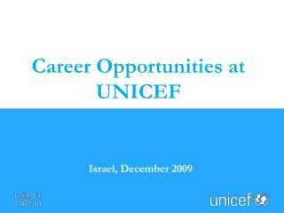 Career Opportunities at UNICEF