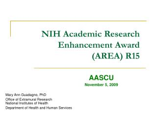NIH Academic Research Enhancement Award (AREA) R15