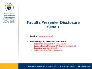 Faculty/Presenter  Disclosure Slide 1