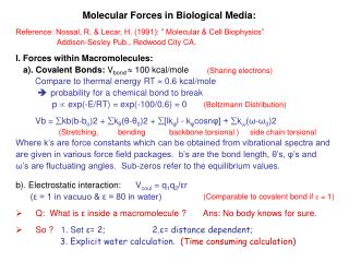 Molecular Forces in Biological Media: