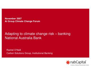 Adapting to climate change risk – banking National Australia Bank