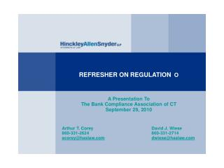 REFRESHER ON REGULATION   O