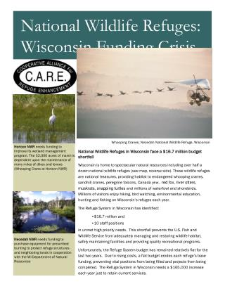 National Wildlife Refuges in Wisconsin face a $16.7 million budget shortfall