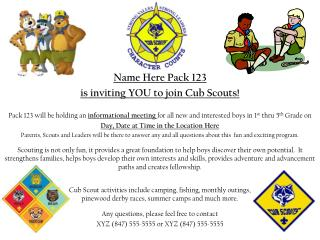Name Here Pack 123 is inviting YOU to join Cub Scouts!