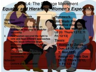L3&L4: The Suffrage Movement Equality and Hierarchy: Women ' s Experience