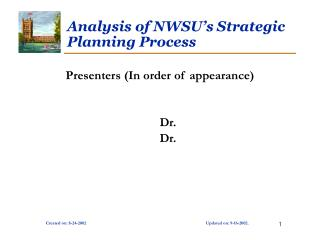 Analysis of NWSU's Strategic Planning Process