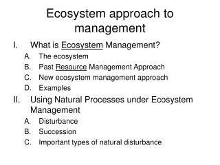 Ecosystem approach to management