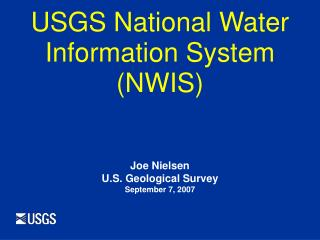 USGS National Water Information System (NWIS)