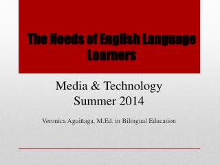 The Needs of English Language Learners