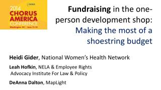 Fundraising  in  the  one-person development  s hop:  Making the most of a  shoestring budget