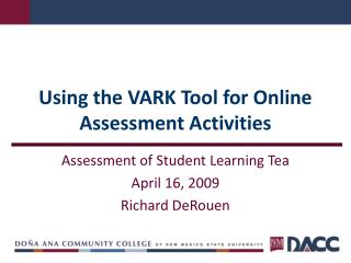 Using the VARK Tool for Online Assessment Activities