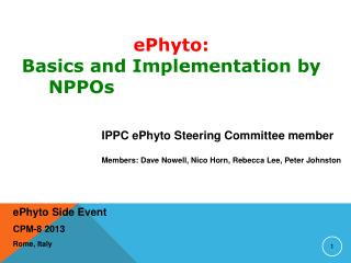 e Phyto  Side Event CPM-8 2013 Rome, Italy